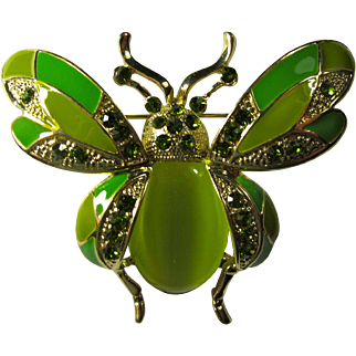 Large Green Enamel & Rhinestone Bug Brooch With Moonglow Cabochon