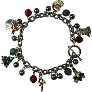 Vintage Christmas Charm Bracelet With Enamel Charms & Jewels