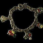 Vintage Christmas Charm Bracelet With Heart Toggle
