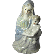 Mid-Century Lusterware Virgin Mary & Christ Child Statue