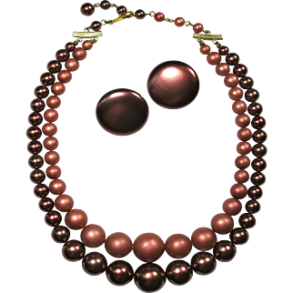 1960s Wine & Rose Faux Pearl Choker With Matching Earrings