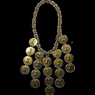 Vintage Belly Dancer's Lucky Penny Bib Necklace