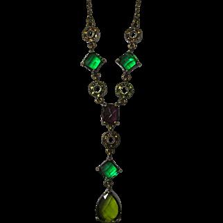 Vintage Y Necklace In Mardi Gras Colors