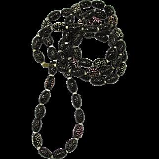 1920s Art Deco Black Glass Flapper Bead Necklace