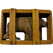 Vintage Wooden Good Luck Bear In Crate From Yellowstone Park