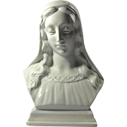 Vintage White Ceramic Virgin Mary Bust