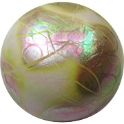 Vintage Iridescent Art Glass Paperweight by Susan Anton Carr for Intaglio Levay - White & Gold
