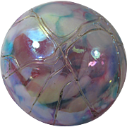 Vintage Iridescent Art Glass Paperweight by Susan Anton Carr for Intaglio Levay - Blue & Violet