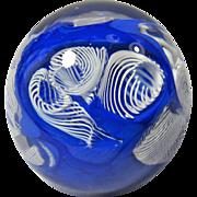 Vintage Cobalt Blue & White Latticino Glass Paperweight