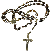 1930s Brown Agate Rosary From Rome