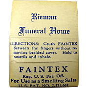 "1940s ""Faintex"" Smelling Salts Kit From Rieman Funeral Home, Union City, NJ"
