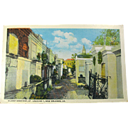 1920s New Orleans Cemetery Postcard Unused