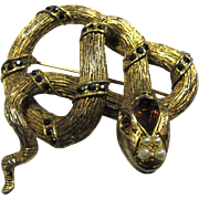 Vintage Bejewelled Snake Brooch With Faux Pearls
