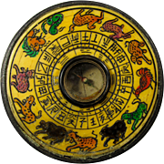 Vintage Chinese Geomantic Feng Shui Compass of Bronze & Bone