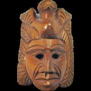 Vintage Carved Sandalwood Aztec Warrior Mask