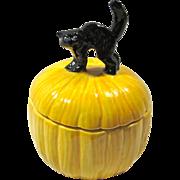 Vintage Ceramic Black Cat & Pumpkin Treasure Box