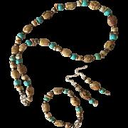 Picture Jasper and Magnesite Beaded Jewelry Set
