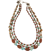Artisan Jasper and Amazonite Multistrand Beaded Necklace