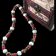 Amazonite and Tiger Eye Handmade Beaded Necklace