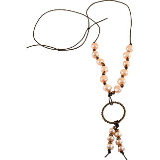 Cultured Freshwater Pearl and Leather Knotted Necklace