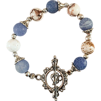 Howlite and Blue Crackle Beaded Bracelet