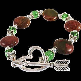 Picasso Jasper and Fluorite Handmade Beaded Bracelet