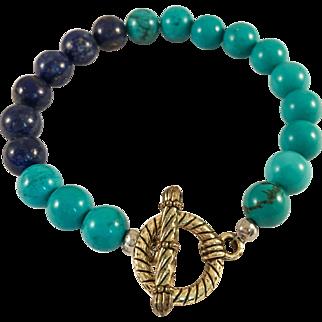 Lapis and Blue Howlite Handmade Beaded Bracelet