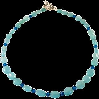 Chalcedony and Swarovski Crystal Handmade Necklace