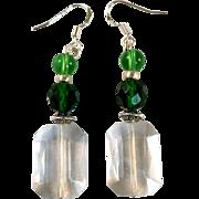 Handmade Green Crystal and Fluorite Beaded Earrings