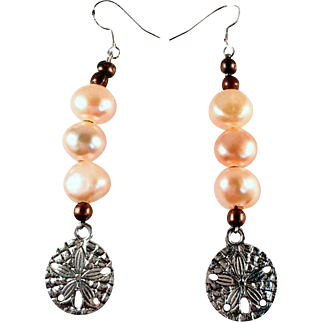 Sand Dollar and Cultured Pearl Earrings