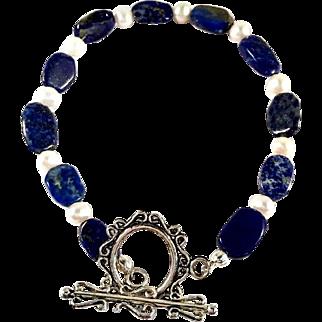 Lapis and Cultured Pearl Handmade Beaded Bracelet