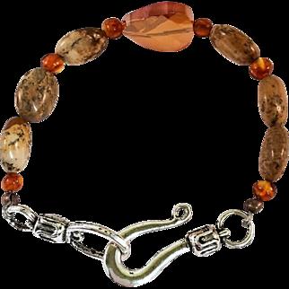 Baltic Amber and Picture Jasper Handmade Beaded Bracelet
