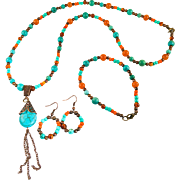 Dyed Howlite And Mixed Stone Beaded Jewelry Set
