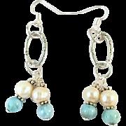 Handmade Cultured Freshwater Pearl and Dominican Larimar Earrings