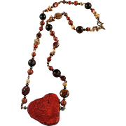 Red Magnesite and Jasper Beaded Necklace