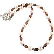 Smoky Quartz and Cultured Freshwater Pearl Necklace