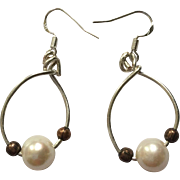 Cultured Pearl and Copper Drop Earrings