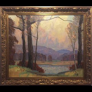 """Carl Rudolph Krafft (1884-1938) Oil on Canvas - """"Autumn Lake"""""""