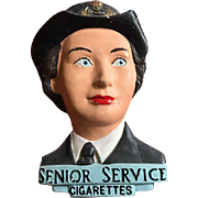 Large and rare chalk ware   chalk ware Senior Service  cigarette store display 3d  British soldier lady1940's Wac