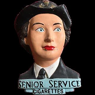 Large and rare chalk ware   chalk ware Senior Service  cigarette store display 3d  British soldier lady1940's Wac