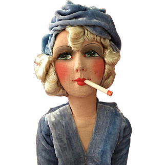 Exceptional  authentic and  vintage Art Deco Boudoir Doll Smoker from the 1925-30