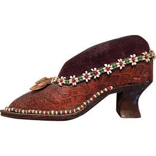 SUPERB  Antique Pin Cushion, Pincushion,  Leather High High Heel Shoe Victorian
