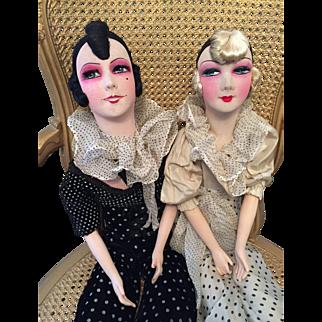 Two exceptional Boudoir dolls  Doll The Sisters  Pierrette sisters!  French  Pierrot Boudoir Doll (Poupee de Salon)
