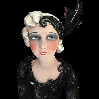 Rare smiling French cabaret dancer Deco Boudoir doll Flapper original 1920 VAMP