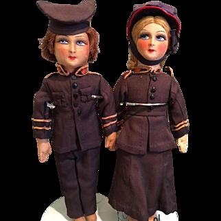 RARE Circa 1920 Antique Boudoir Dolls Vintage Salvation Army Cabinet Size