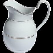Vintage French Enamel Jug 1920s Kitchen Pitcher Flower Vase