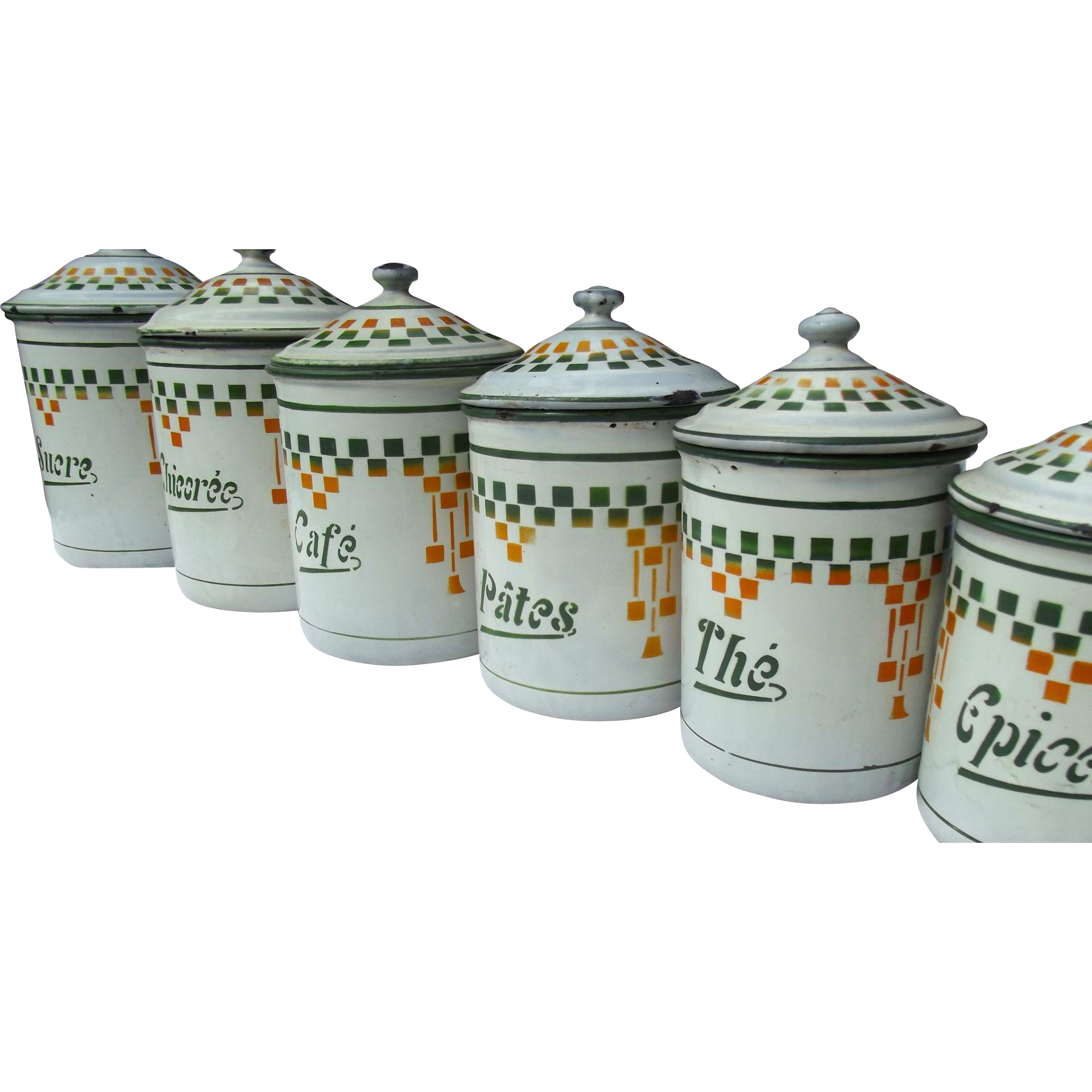 Set Of 6 Vintage French Kitchen Storage Jars Enamel Canisters 1920s From A Farmhouse In France