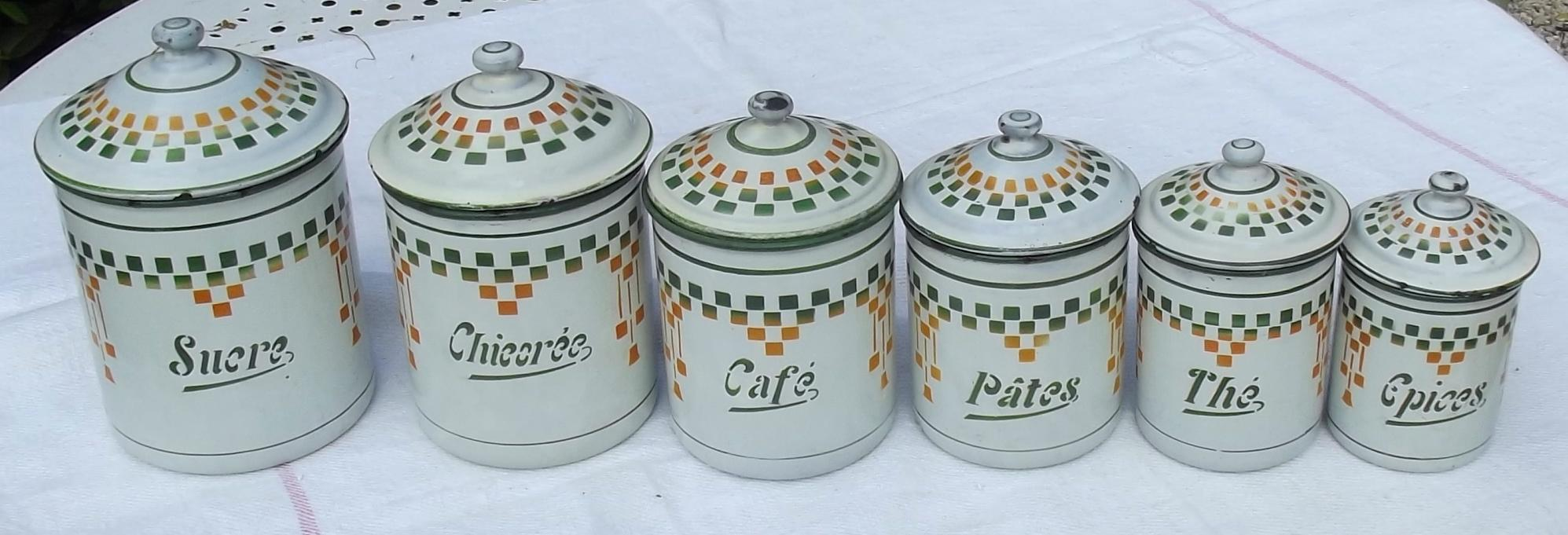 set of 6 vintage french kitchen storage jars enamel canisters