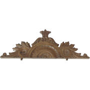Vintage french wooden furniture pediment. Oak Armoire Door Mirror embellishment