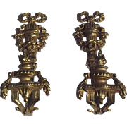 Pair of Antique French Empire Ormolu Gold Tiebacks Hooks for Curtains Drapes